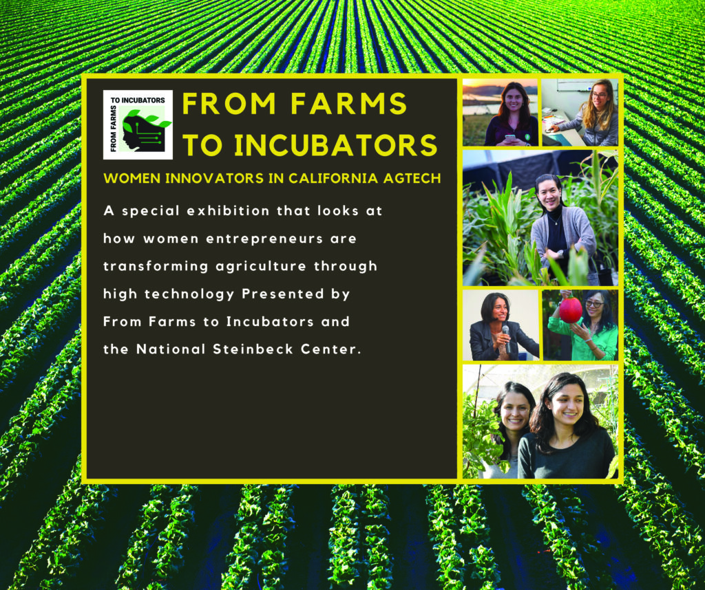 From Farms To Incubators Women Innovators in California Agtech A special exhibition that looks at how women entrepreneurs are transforming agriculture through high technology. Presented by From Farms to Incubators and the National Steinbeck Center