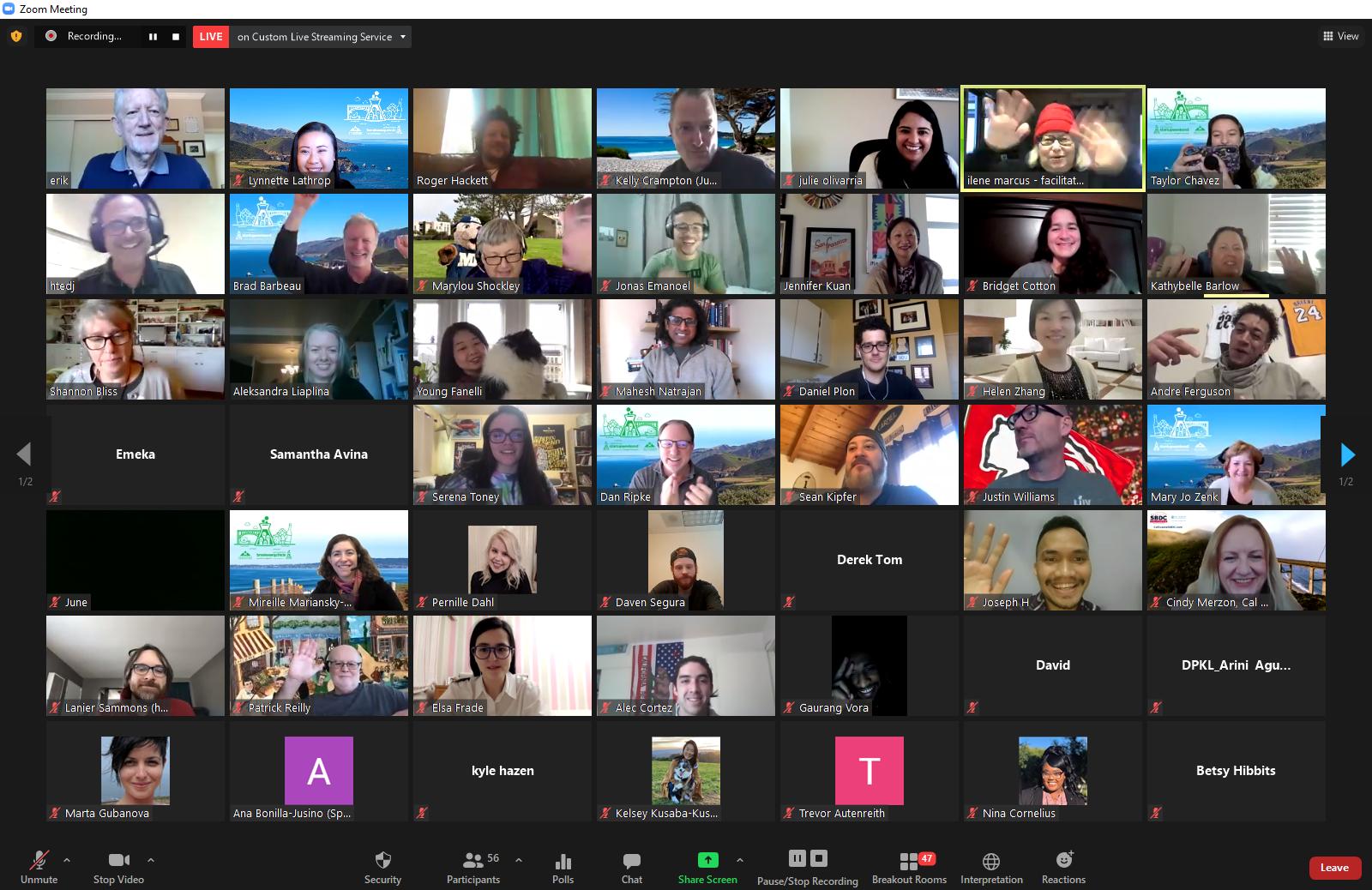 Techstars Startup Weekend Monterey Bay 2021 online event participants on Zoom